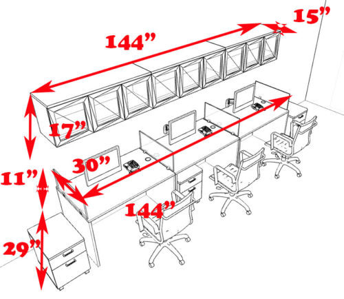 Three Person Modern Divider Office Workstation Desk Set, #CH-AMB-SP107