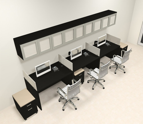 Three Person Modern Divider Office Workstation Desk Set, #CH-AMB-SP108