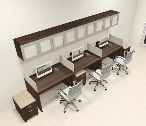 Three Person Modern Divider Office Workstation Desk Set, #CH-AMB-SP109