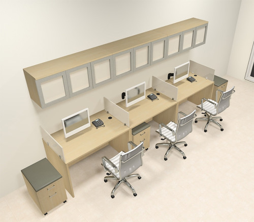 Three Person Modern Divider Office Workstation Desk Set, #CH-AMB-SP110