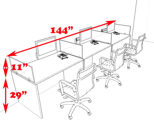 Three Person Modern Divider Office Workstation Desk Set, #CH-AMB-SP70