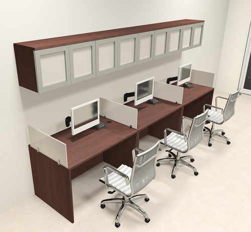 Three Person Modern Divider Office Workstation Desk Set, #CH-AMB-SP86