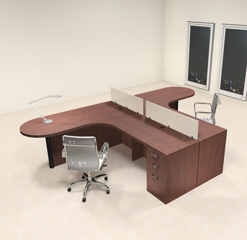 Two Person L Shaped Modern Divider Office Workstation Desk Set, #CH-AMB-SP1