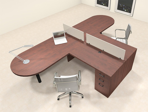 Two Person L Shaped Modern Divider Office Workstation Desk Set, #CH-AMB-SP16