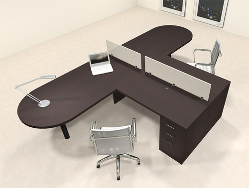 Two Person L Shaped Modern Divider Office Workstation Desk Set, #CH-AMB-SP17