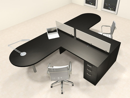 Two Person L Shaped Modern Divider Office Workstation Desk Set, #CH-AMB-SP18