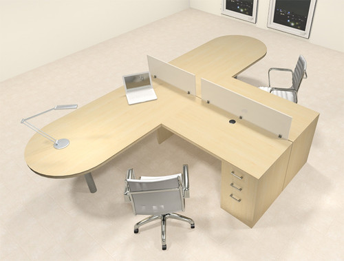 Two Person L Shaped Modern Divider Office Workstation Desk Set, #CH-AMB-SP20