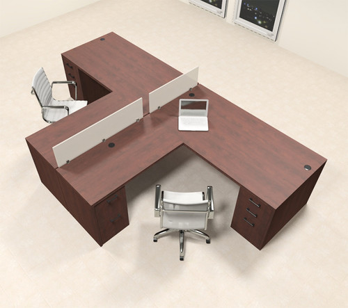 Two Person L Shaped Modern Divider Office Workstation Desk Set, #CH-AMB-SP31