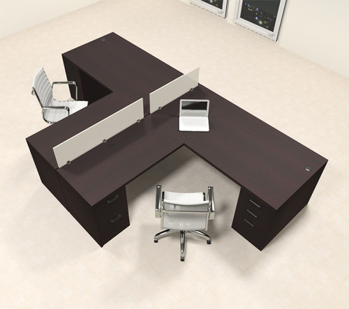Two Person L Shaped Modern Divider Office Workstation Desk Set, #CH-AMB-SP32