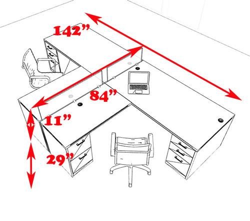 Two Person L Shaped Modern Divider Office Workstation Desk Set, #CH-AMB-SP34