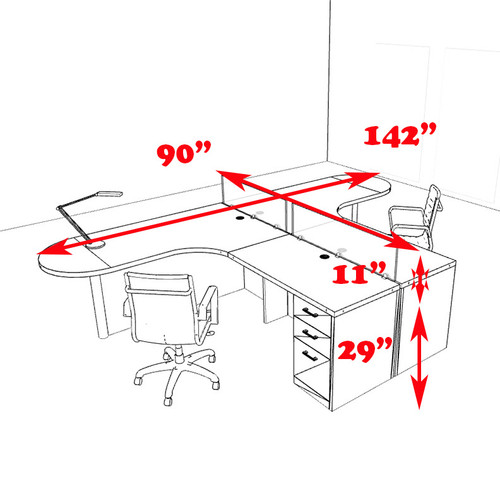 Two Person L Shaped Modern Divider Office Workstation Desk Set, #CH-AMB-SP5