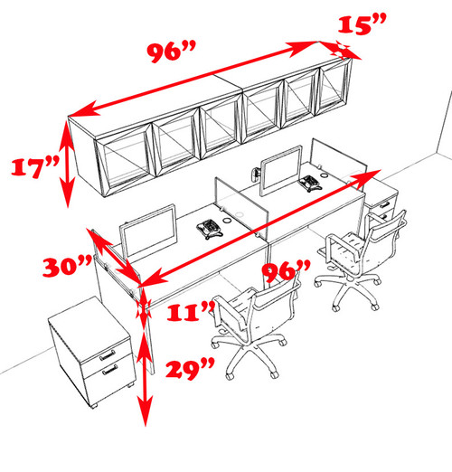 Two Person Modern Divider Office Workstation Desk Set, #CH-AMB-SP104