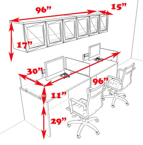 Two Person Modern Divider Office Workstation Desk Set, #CH-AMB-SP82