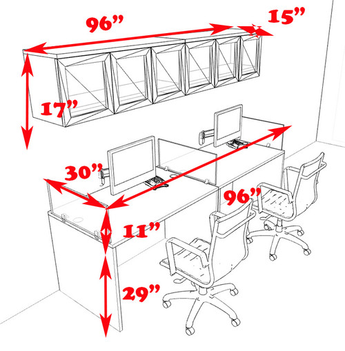 Two Person Modern Divider Office Workstation Desk Set, #CH-AMB-SP84