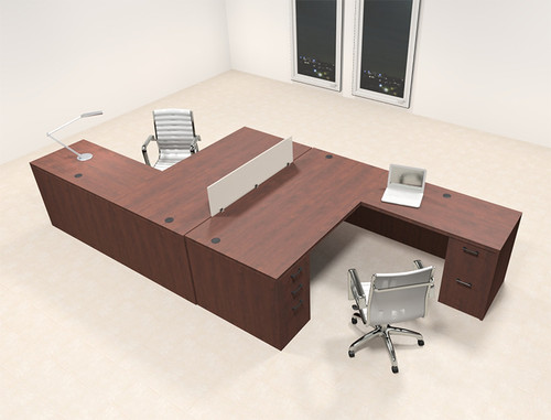 Two Persons L Shaped Office Divider Workstation Desk Set, #CH-AMB-FP1