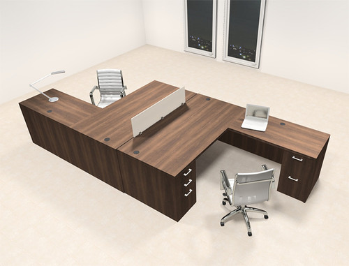 Two Persons L Shaped Office Divider Workstation Desk Set, #CH-AMB-FP4