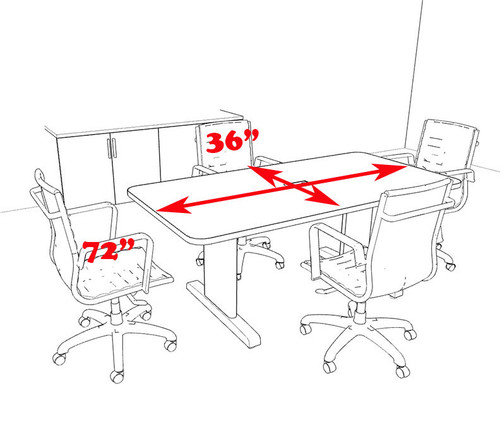 Modern Rectangular 6' Feet Conference Table, #MT-CSD-C4