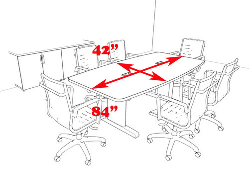 Modern Boat Shaped 7' Feet Conference Table, #MT-CSD-C28