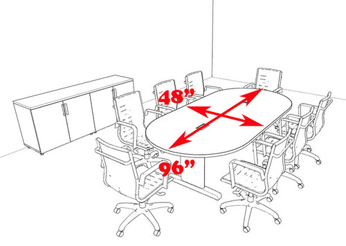 Modern Racetrack 8' Feet Conference Table, #MT-CSD-C54