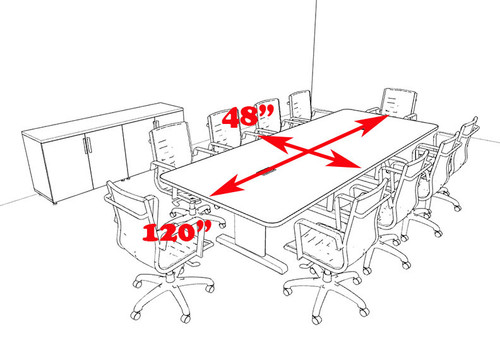 Modern Rectangular 10' Feet Conference Table, #MT-CSD-C75