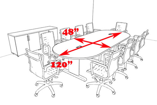 Modern Racetrack 10' Feet Conference Table, #MT-CSD-C90
