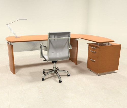 2pc Modern Contemporary L Shape Executive Office Desk Set, #RO-NAP-L1