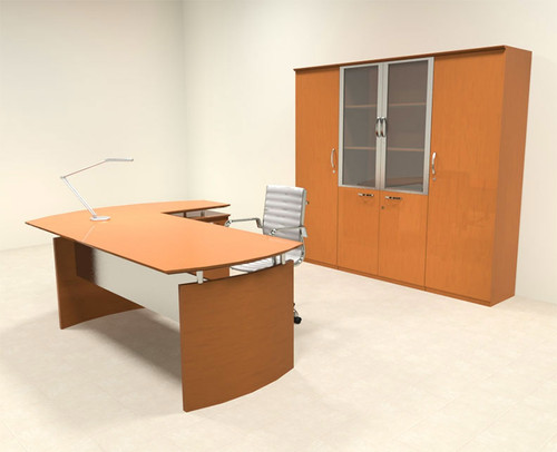 5pc Modern Contemporary L Shape Executive Office Desk Set, #RO-NAP-L16
