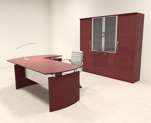 5pc Modern Contemporary L Shape Executive Office Desk Set, #RO-NAP-L17
