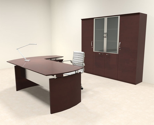 5pc Modern Contemporary L Shape Executive Office Desk Set, #RO-NAP-L18