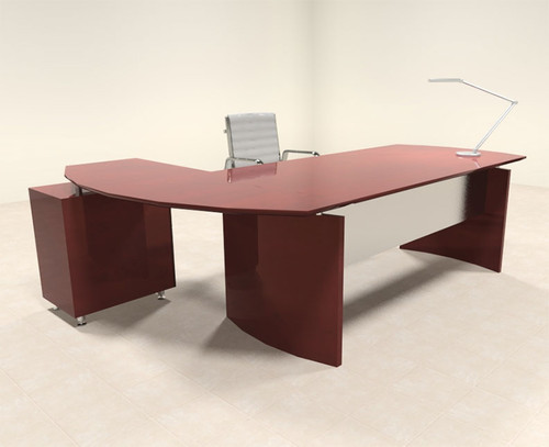 2pc Modern Contemporary L Shape Executive Office Desk Set, #RO-NAP-L2
