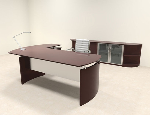 5pc Modern Contemporary L Shape Executive Office Desk Set, #RO-NAP-L9