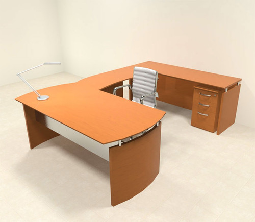 4pc Modern Contemporary U Shape Executive Office Desk Set, #RO-NAP-U1