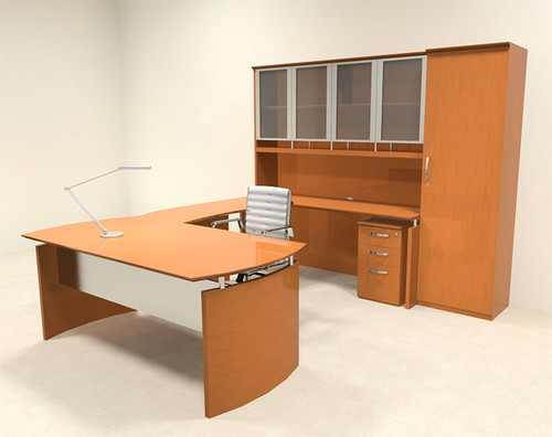 6pc Modern Contemporary U Shape Executive Office Desk Set, #RO-NAP-U10
