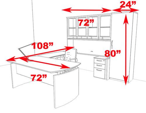 6pc Modern Contemporary U Shape Executive Office Desk Set, #RO-NAP-U10