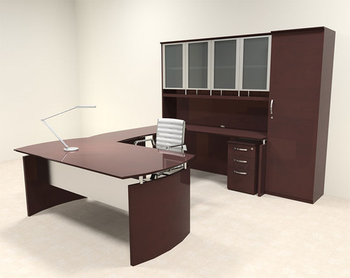 6pc Modern Contemporary U Shape Executive Office Desk Set, #RO-NAP-U12