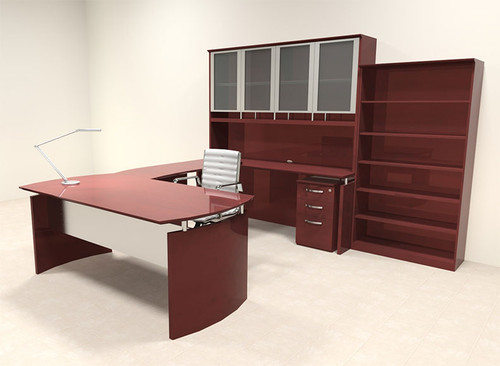 6pc Modern Contemporary U Shape Executive Office Desk Set, #RO-NAP-U14
