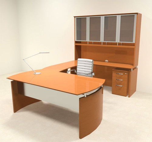 5pc Modern Contemporary U Shape Executive Office Desk Set, #RO-NAP-U4