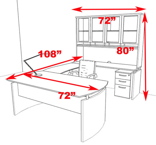 5pc Modern Contemporary U Shape Executive Office Desk Set, #RO-NAP-U5