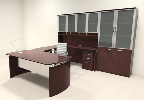 6pc Modern Contemporary U Shape Executive Office Desk Set, #RO-NAP-U9
