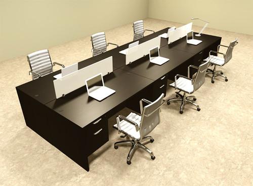 Six Person Modern Divider Office Workstation Desk Set, #OT-SUL-FP24
