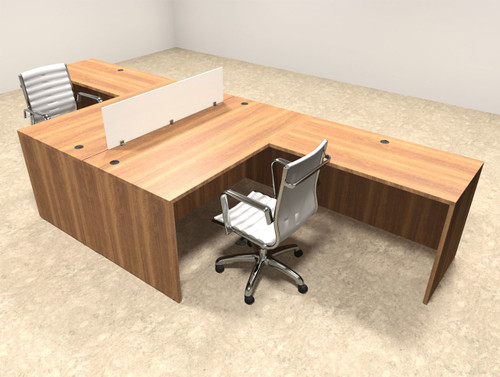 Two Person L Shaped Divider Office Workstation Desk Set, #OT-SUL-FP25