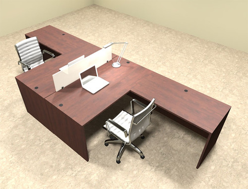 Two Person L Shaped Divider Office Workstation Desk Set, #OT-SUL-FP26