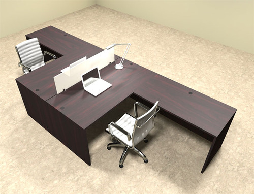 Two Person L Shaped Modern Divider Office Workstation Desk Set, #OT-SUL-FP27