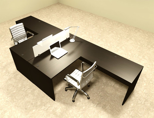 Two Person L Shaped Modern Divider Office Workstation Desk Set, #OT-SUL-FP28