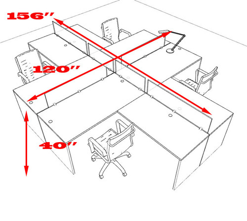 Four Person L Shaped Divider Office Workstation Desk Set, #OT-SUL-FP29