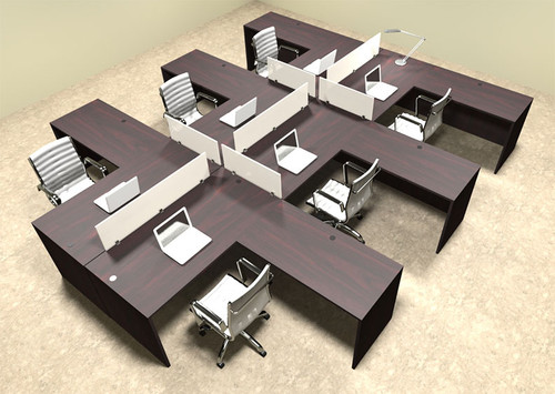 Six Person L Shaped Divider Office Workstation Desk Set, #OT-SUL-FP35
