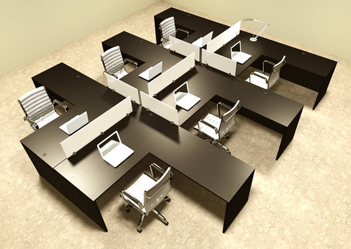 Six Person L Shaped Divider Office Workstation Desk Set, #OT-SUL-FP36