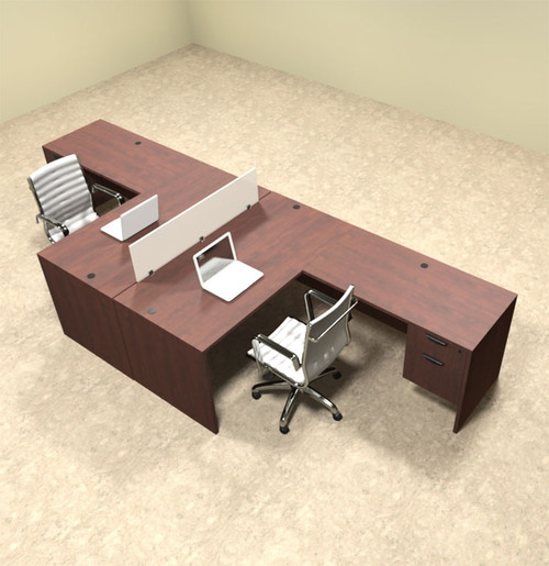 Two Person L Shaped Divider Office Workstation Desk Set, #OT-SUL-FP38