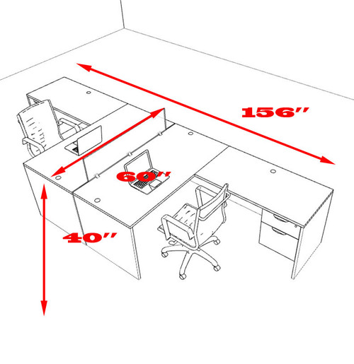Two Person L Shaped Divider Office Workstation Desk Set, #OT-SUL-FP39