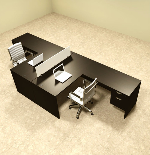 Two Person L Shaped Divider Office Workstation Desk Set, #OT-SUL-FP40